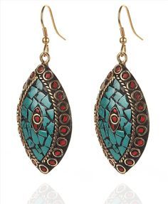 Buy Zephyrr Fashion Hook Earrings Tibetan Handmade Red Green Inlay Work Online at Low Prices in India   Amazon Jewellery Store - Amazon.in