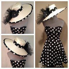 Glamor Dotty - Kentucky Derby, Derby, Horse Race, Polo, Tea, Costume, Old Hollywood Fashion Hat by AfternoonCrowns on Etsy https://www.etsy.com/listing/188527836/glamor-dotty-kentucky-derby-derby-horse