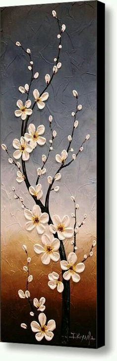 Cutest flowering branch idea with cute little white and yellow flowers with buds. Lovely painting.