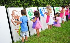 """Birthday party painting activity for kids by J and J Home - Giant DIY painting """"canvases"""" R repurposed cardboard boxes!  Each child takes dryed masterpiece home!"""