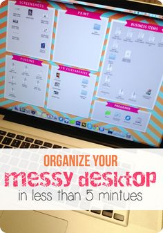 Suffer from a messy computer desktop? Try this organizer to clean up your computer desktop. Quick and easy computer organization! Organization Station, Desktop Organization, Classroom Organization, Storage Organization, Desktop Organizer Wallpaper, School Office Organization, Cubicle Organization, Office Hacks, Organizing Paperwork