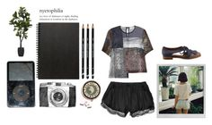 We rode on horses made of sticks. by del-diablo on Polyvore featuring Preen, Jeffrey Campbell, Muji, Spy Optic and Polaroid