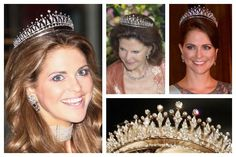 The Modern Fringe Tiara | A Tiara a Day-Swedish owned tiara that first was worn in the late 1980s.  Photos (clockwise from top left): Princess Madeleine of Sweden; Queen Silvia of Sweden; Princess Madeleine of Sweden; tiara detail