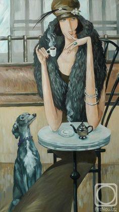 """Панина Кира. Дама с собачкой (из серии""""Чашечка кофе"""")"""