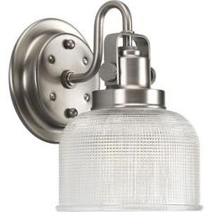 Progress Lighting Archie Collection 1 Light Antique Nickel Bath Sconce With Clear Prismatic Glass Shade