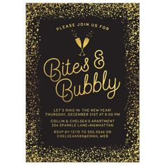 New Year's Eve or Holiday Party Invitations - Golden Confetti Bites & Bubbly