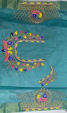 Peacock Blouse Designs, Kids Blouse Designs, Blouse Neck Designs, Peacock Design, Hand Designs, Hand Embroidery Design Patterns, Designer Blouse Patterns, Designer Dresses, Mirror Work Blouse Design