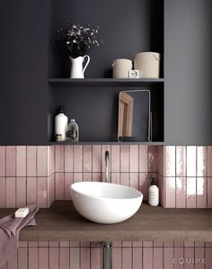 Grey and pink kitchen