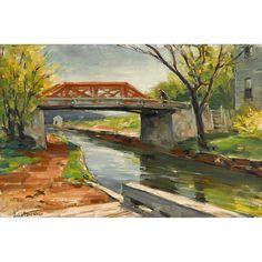 """Mechanic Street Bridge,"" John Folinsbee, oil on board, 15 1/8 x 23 3/4"", private collection."