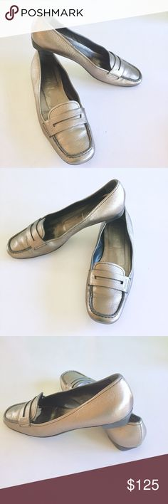 Prada Silver Leather Loafers Up for sale Prada Silver Leather Loafers. Size 8.6 BUT FEELS LIKE SIZE 7.5. Please See photos for details and condition of the shoes. Check out my closet, bundle and give me your offer.   #ba003 Prada Shoes Flats & Loafers