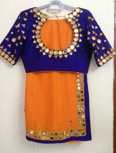 Orange n voilet mirror work sarees