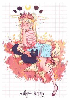A artista LanaJay desenhou sua própria versão do grupo principal de Sailor Moon e decidiu adicionar um toque de feitiçaria nas personagens.