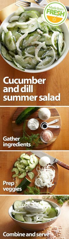 Fresh, crisp cucumbers, onions and tangy dill mix with creamy yogurt to create this cool, refreshing summer salad. It's so good, you'll want to make more than one batch. Find these fresh ingredients at your local Walmart. Veggie Recipes, Salad Recipes, Vegetarian Recipes, Cooking Recipes, Healthy Recipes, I Love Food, Good Food, Yummy Food, Tasty