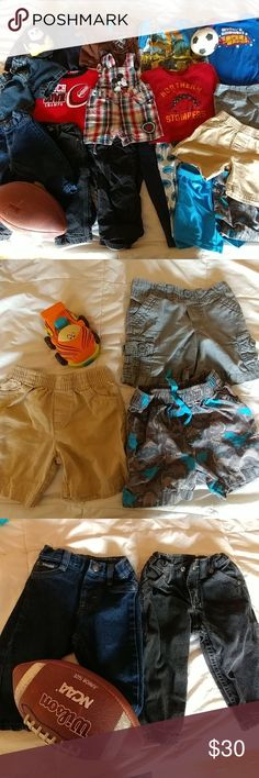 Huge lot (17 pc) boys 12 to 18 month clothes GUC from a smoke and pet free home. Shirts and pajama pants have some slight pilling. Includes:  2 pair denim pants (Wrangler, Arizona) 1 pair cargo pants 2 pairs pajama pants 1 pair mickey mouse overalls (Disney) 2 sweatshirts 2 t-shirts (Air walk, Jumping beans) 2 onesies 1 pair denim shorts (children's place) 3 pair shorts- khaki material 1 pair sport shorts Matching Sets