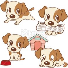 Four poses of puppy Royalty Free Stock Vector Art Illustration