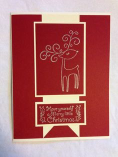 Handmade card, Christmas, deer, red, have yourself a merry little Christmas