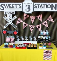 Need some ideas for a train theme party? Thomas Birthday Parties, Thomas The Train Birthday Party, Birthday Party Desserts, Trains Birthday Party, Boy Birthday, Birthday Ideas, Third Birthday, 3 Year Old Birthday Party Boy, Birthday Signs