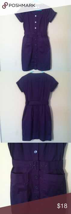 "NY&Co. Purple Shirt Dress Measures 14"" across at waist and 21"" from waist to hem. Adjustable, removable belt. Not lined. Pockets on front. Button front closure. 97% cotton/3% spandex. Has some stretch to it. Beautiful dark purple color. Excellent used condition. No stains or holes. New York & Company Dresses"