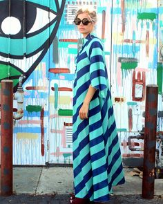 honey of california festival maxi dress blue stripe san clemente side view