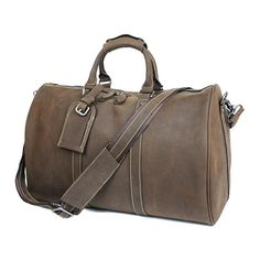 777b8901837 Men`s Leather Duffel Bag, Leather Travel Bag, Gym Bag ZY9292 Model Number