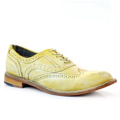 Women's Yellow Leather Brogues C1807