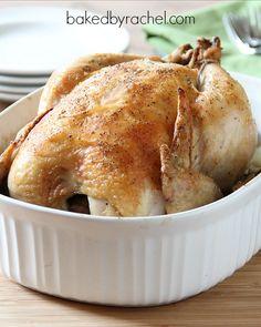 Easy roast chicken. A perfect one dish dinner! Recipe at bakedbyrachel.com