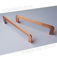 Slimline Bar Handle - Brushed Copper Finish - Various Sizes Kitchen Doors, Kitchen Handles, Cabinet Handles, Door Handles, Kitchen On A Budget, Kitchen Ideas, Kitchen Design, Grey Bedroom Design, Bedroom Designs