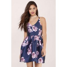 Tobi Vienna Floral Skater Dress ($86) ❤ liked on Polyvore featuring dresses, navy multi, tobi dresses, strap dress, skater dress, strappy dress and criss cross strap dress