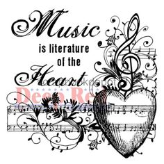 Music Of The Heart Deep Red Cling Rubber Stamp Set