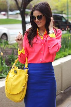 Putting together a hot pink dress shirt with a blue pencil skirt is an on-point option for a seriously stylish and polished getup. Fashion Colours, Love Fashion, Womens Fashion, Fashion Trends, Gypsy Fashion, Looks Style, My Style, Boho Style, Blue Pencil Skirts