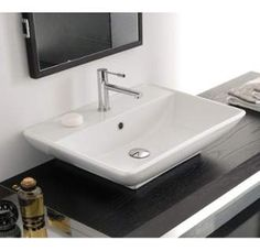 "View the Scarabeo by Nameeks 8046/R Kylis 24-3/8"" Ceramic Wall Mounted / Vessel Bathroom Sink with 1 / 3 Holes Drilled - Includes Overflow at FaucetDirect.com."