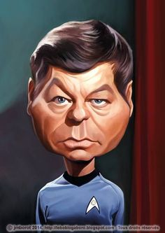 DeForest Kelley as Dr Leonard McCoy - JMBorot (caricature_ http://dunway.com/