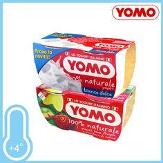 Yomo 100% Naturale. La semplice bontà del latte fresco e il benessere dei fermenti lattici. Gusti Bianco Dolce e Lime/Fragola. Conf. 2xgr.125 a solo € 0,59!!!