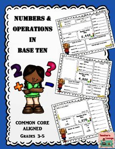 Numbers and Operations Common Core Math Practice: Grades 3-5 from Teacher's Lounge on TeachersNotebook.com -  (70 pages)  - Number and Operations in Base 10: Activities for grades 3 -5 This product consists of THREE GRADES of common core aligned activities. Excellent resource for spiral review, differentiated instruction,