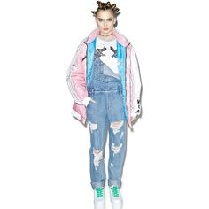Bad Gal Distressed Overalls ($60) ❤ liked on Polyvore featuring jumpsuits, bib overalls, blue bib overalls, blue jumpsuits, honey punch and blue overalls
