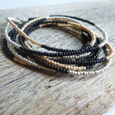 Seed Bead Wrap- Black, Gold, and Silver from Beadorable Designs