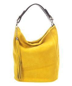This Yellow Tassel Leather Hobo is perfect! #zulilyfinds