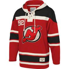 New Jersey Devils Red Old Time Hockey Lace Up Jersey Hooded Sweatshirt @Robert Selman