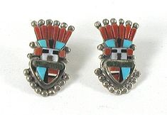 Sybil Cachini Zuni NOS Turquoise and Coral Inlay Kachins Post earrings E540 Pueblo Indians, Matrix Color, Native American Earrings, American Indian Jewelry, Coral Jewelry, Shades Of Red, Native American Indians, Vintage Shops, Vintage Jewelry