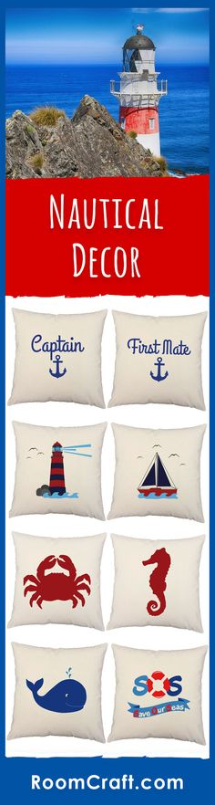 Sea-lovers and sailors alike will love these nautical throw pillows. Our designs range from the sea to shore and are offered in multiple fabrics, sizes, and colors making them perfect for any room in your home, office or even on your boat. Our quality marine pillow covers are made to order in the USA and feature 3 wooden buttons on the back for closure. Choose your favorite and create a truly unique nautical pillow set. #roomcraft