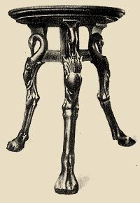 Table (trapedza) On Three Legs. Animals Have Been Carved Into The Legs,