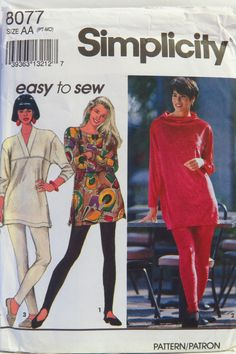 Simplicity 8077 Misses' Tunic with Neckline Variations and Leggings