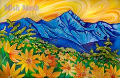 Orginal acrylic mountain painting, COMMISSION A PAINTING, field of wild sunflowers, yellow and blue, art,