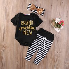 Nice Sparkling Newborn Baby Girls Romper+ Stripe Pants+headband 3pcs set newborn baby Girls clothes sets - $16.2 - Buy it Now!