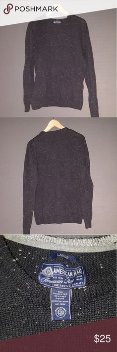 """Men's American Rag Crewneck Sweater as Large Men's American Rag Crew neck sweater. Black with some lighter colored specks in the knit. 95% Polyester. Only worn once. Very comfy and cute. Ladies! Wear it as a slouchy, oversized sweater during winter. Warm and cozy. 23"""" pit to pit, 17.5"""" long at side seam. American Rag Sweaters Crewneck"""