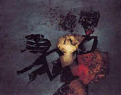 """:: VICTOR CHAB ::""""Guerrero en reposo"""" - 1987 - collage y óleo sobre tela - 120 x 150 cm"""