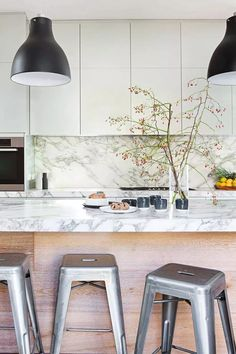 Need inspiration for your contemporary kitchen? From colour to cabinets – here are Home Beautiful's picks for some of the best modern kitchen design ideas. Timber Wall Panels, Timber Walls, Contemporary Kitchen Design, Modern Contemporary, Kitchen Dinning, Kitchen Decor, Kitchen Ideas, Timber Dining Table, Modern Country Kitchens
