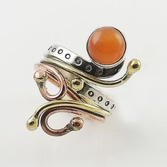 CarnelianThree Tone Sterling Silver Adjustable Ring