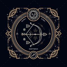 Thin Line Zodiac Sagittarius Label Vector Design Template. Vector EPS, AI Illustrator, JPG. Download here: https://graphicriver.net/item/thin-line-zodiac-sagittarius-label/18816762?ref=yinkira
