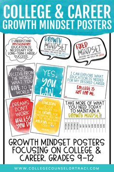This growth mindset bulletin board provides the awareness your students need! This is a great introduction to mindsets that support the academic, personal/social and career domains highlighted by (ASC School Counselor Office, High School Counseling, Career Counseling, Growth Mindset Activities, Growth Mindset Posters, Career Bulletin Boards, The American School, College Success, Student Success
